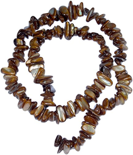 Mother Of Pearl Dyed Chip - Shell Beads, Mother of Pearl, Large Chip, Brown(Dyed) -15