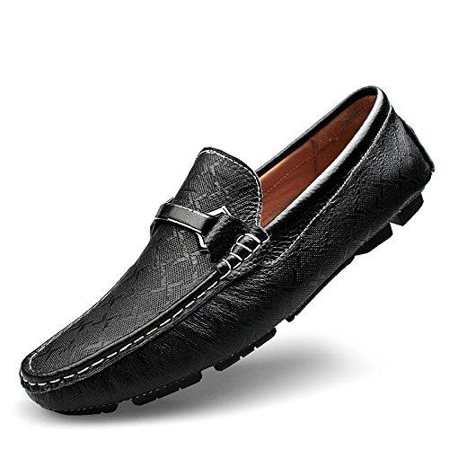 Abby 9928 Sneakers Uomo In Pelle Da Uomo Con Elegante Mocassino Casual Slip-on Drivier Nero