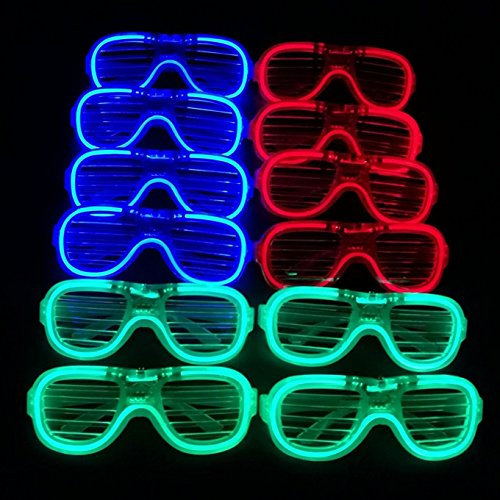 M.best Unisex Fashion Plastic Glow Light LED Light Up Shades Toy Glasses Party Favors Supplies Set of 12 (B -