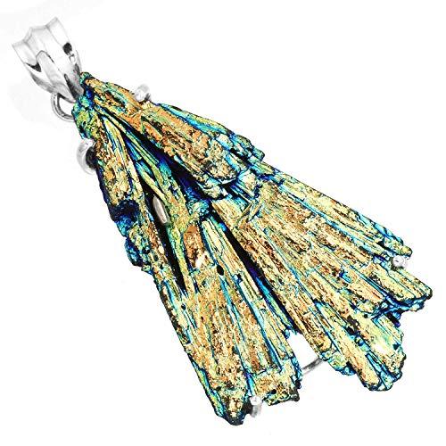 (Solid 925 Sterling Silver Jewelry Rainbow Aura Kyanite)