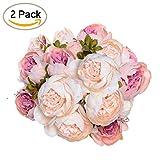 2 Pack Artificial Peony Wedding Flower Bush Bouquet - Artiflr Vintage Peony Silk Flowers for Home Kitchen Wreath Wedding Centerpiece Decor, Light Pink