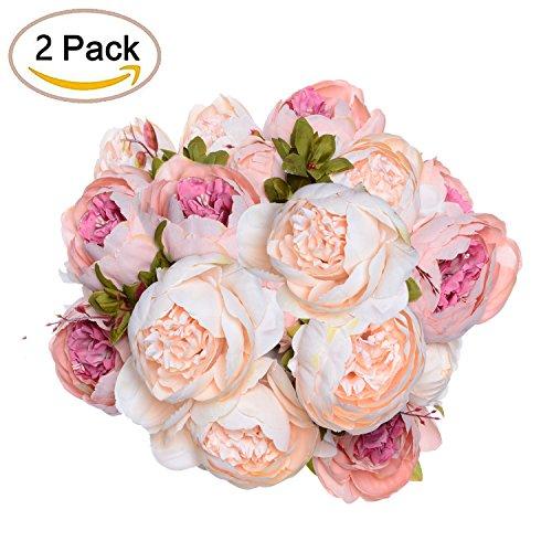 2 Pack Artificial Peony Wedding Flower Bush Bouquet - Artiflr Vintage Peony Silk Flowers for Home Kitchen Wreath Wedding Centerpiece Decor, Light Pink by Artiflr