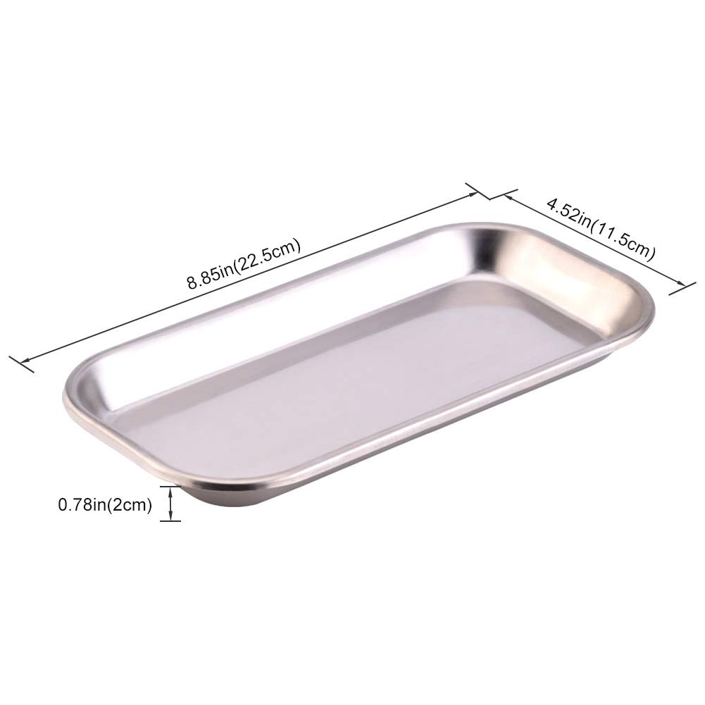 Plateau en acier Outil utile pour le plateau des instruments m/édicaux en acier inoxydable 201 Dental de 1pc pour le laboratoire de la clinique