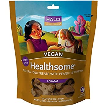 Halo Healthsome Holistic Grain Free Dog Treats, Peanut 'N Pumpkin, 8 OZ of Vegan Natural Dog Treats