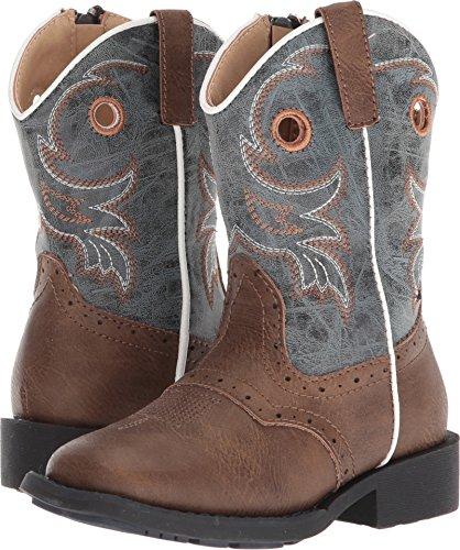 Roper Toddler-Boys' Daniel Distressed Saddle Vamp Cowboy Boot Square Toe Brown 5 D (Saddle Kids Roper)