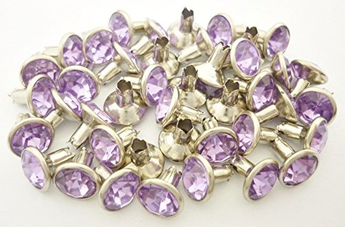 40Sets 7mm Light Purple Lilac Synthetic Crystal Rhinestone RIVETS Leather (Crystal Rivets)