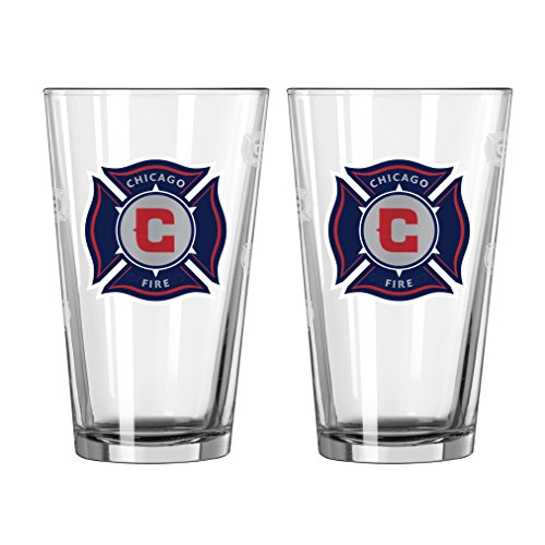 Boelter Brands MLS Chicago Fire Satin Etch Pint, 16-ounce, 2-Pack by Boelter Brands