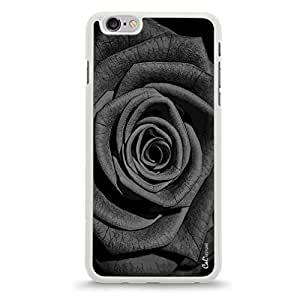 iPhone 6 Plus Hybrid Cellphone Cover Case with Black and White Rose Design-White [Non-Retail Packaging]