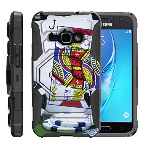 (TurtleArmor | Compatible for Samsung Galaxy J1 Case J120 (2016) [Octo Guard] Hybrid Reinforced Tough Kickstand Cover Clip Holster Protector Gambling Casino Set - Blackjack)