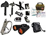 Survival Camping Hiking 20X70 Binoculars Ruby,Emergency First Aid Kit, Sharpener, Axe, Fire Blade, Whistle Flint Striker Belt Buckle, ACU Hydration Backpack, Multi Tool, Compass, Signal Mirror