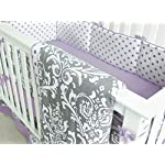 7-Pieces-Set-Ruffle-Grey-Puple-Floral-Baby-Crib-Nursery-Bedding-Set-Ruffle-Sheet