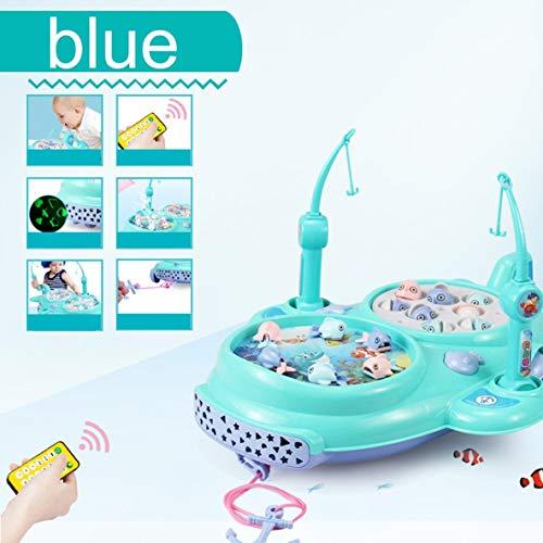 MolySun 釣り おもちゃ クリエイティブ釣りゲームのおもちゃセット電子音楽磁気釣りボード子供の釣りゲームのおもちゃリトルボーイズ&少女のための 青