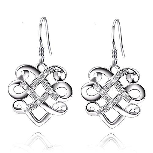 YAXING 925 Sterling Silver Infinity Heart Knot Vintage Women Dangle Earrings (Celtic (Eternal Knot Earrings)