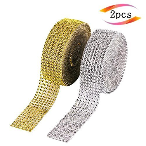 Review Kaosaike 2 Rolls 8 Row 10 Yard/Roll Acrylic Rhinestone Diamond Ribbon for Wedding Cakes, Birt...