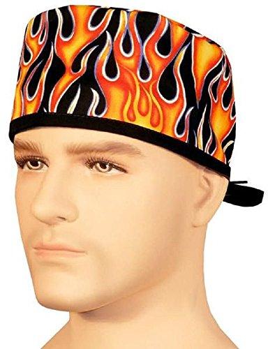 - Generic Merchandise USA Made Black Orange Yellow Flames Medical Scrub Cap Sweatband Adjustable Ties Doctor Nurse Vet Aid Dentist