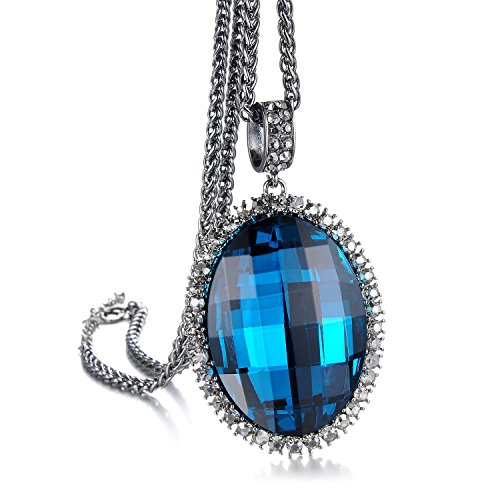 Athena Jewelry The Love of Summer 18k / White Gold Plated Austrian Crystal Swarovski Elements Crystal Pendant Necklace for Women in a Gift Box (Ocean Blue)
