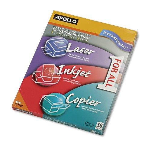(Color Laser/Inkjet Transparency Film, Letter, Clear, 50/Box)