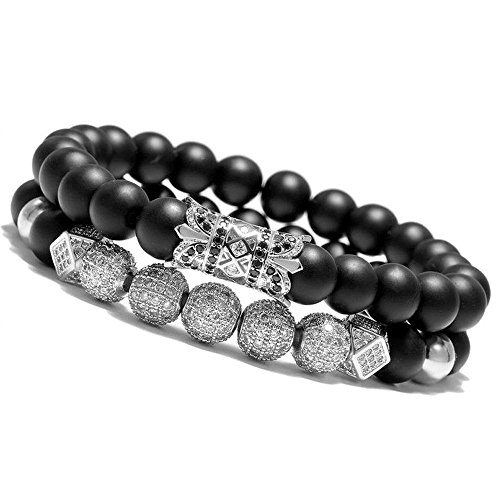 Dont Beaded Bracelet Worry - Meangel 8mm Charm Beads Bracelet for Men Women Black Matte Onyx Natural Stone Beads, 7.5