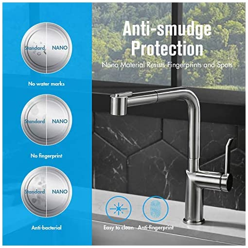 Kitchen APPASO Modern Kitchen Faucet with Pull-Out Spray Head Brushed Nickel, Magnetic Docking Single-Handle Kitchen Sink Faucet… modern sink faucets
