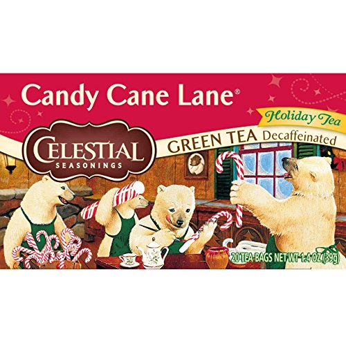 Celestial Seasonings Green Tea, Candy Cane Lane Decaf, 20 Count (Pack of 6)