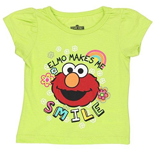 Sesame Street Elmo Girls Short Sleeve Tee (12 Months, Green Elmo Smile)