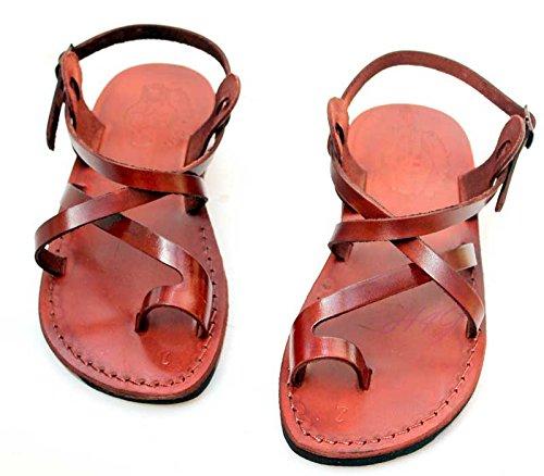 En cuir véritable marron de Jésus romain Sandales de l'Union européenne#006–taille 35–46