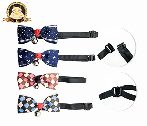 CatYou 4 PCS Set in Different Colors, Bowknot Collar Bow-Tie with Bell for Cats Small Dogs Puppy, Adjustable from 7