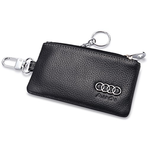 Remote Cover Fob with 1 Metal Keychain - Genuine Leather ()