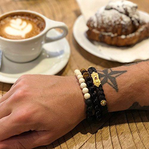 Chakra Bracelet KRMA Organic Cotton Jewelry Bag | Black Agate & Tiger Eye | Japanese String | Energy Stone Prosperity Bracelet by KRMA Prosperity Jewelry (Image #4)