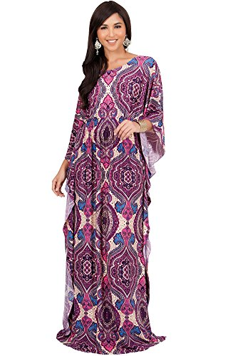 KOH KOH Womens Long Kaftan Boho Print Jersey Flowy Casual Abaya Gown Maxi Dress