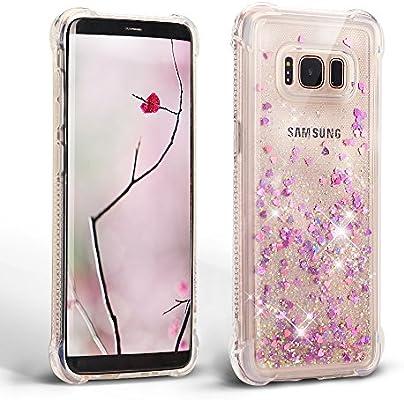 Mosoris Carcasa para Samsung S8, Silicona Bling Arena Movediza Lentejuela Funda Glitter Líquido Brillar Cubierta Tapa Choque Absorción Cubierta Caja ...
