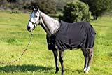 Kensington Products Egyptian Cotton Horse Stable Blanket - Lightweight Durable & Breathable Day Sheets (72, 121- Black/Tan)