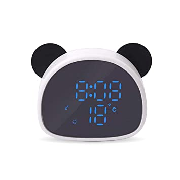 FOONEE Reloj de Alarma No Digital, Cartoon Panda Reloj Despertador Espejo Portátil HD Pantalla LED Dimmer Snooze Función Pantalla de Temperatura: Amazon.es: ...