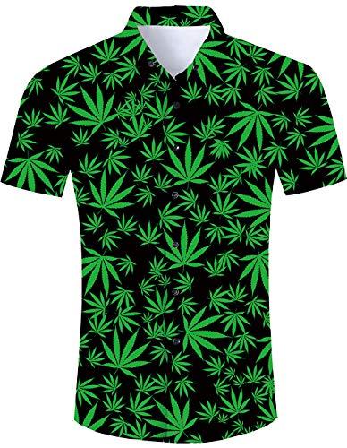 (Men's Hawaiian Shirt Green Weeds Print Tropical Beach Aloha Shirt Casual Button Down Short Sleeve Dress Shirt)