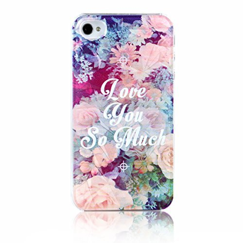 "JewelryWe ""Love you so much"" bunte Blumen Handy Case Schutzhülle Tasche Hülle Rückenschutzhülle für Apple iPhone 4/4S mehrfarbig"