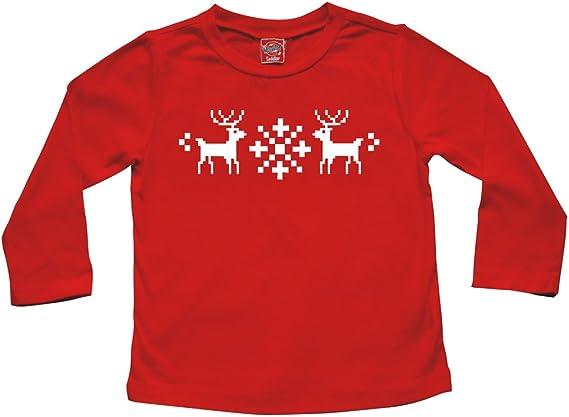 Baby and Big Kids Long Sleeve T-Shirt Rocket Bug Holiday Christmas Nordic Reindeer Toddler