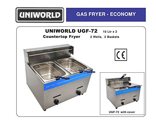 - Uniworld Stainless Steel Liquid Propane Gas Fryer (Counter Top),Temperature Range: 0-392 ºF , 2x10 Liter Fat Capacity, BTU 25000, CE Approval Model UGF-72