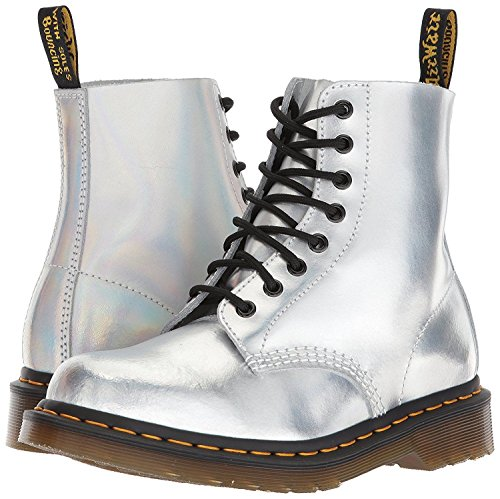 Martens 8 Silver Boots Womens dr In Pelle 1460 HPpwqHWf