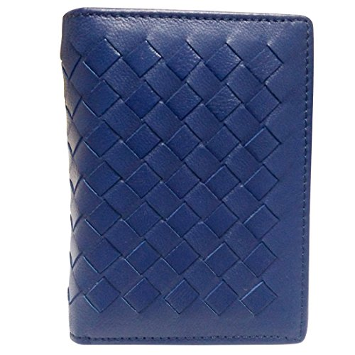 Esdrem Premium Lambskin Business Name Card Holder Slim Compact Credit Card Case Wallet with ID Window Zip Coin Pocket (Navy Blue) ()