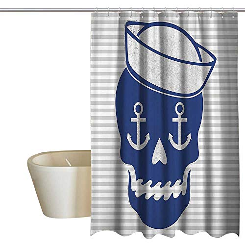 (Suchashome Navy Skulls Polyester Fabric Shower Curtain Sailor Cap Skull Bones Anchor Gray Striped Dia De Los Muertos Theme Modern Shower Curtain W108 x L72 Pattern)