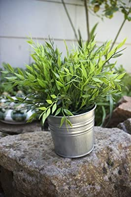 "Ikea Artificial Potted Plant Bamboo 11"" Lifelike Nature Houseplant Decoration Fejka- WITH METAL POT!"