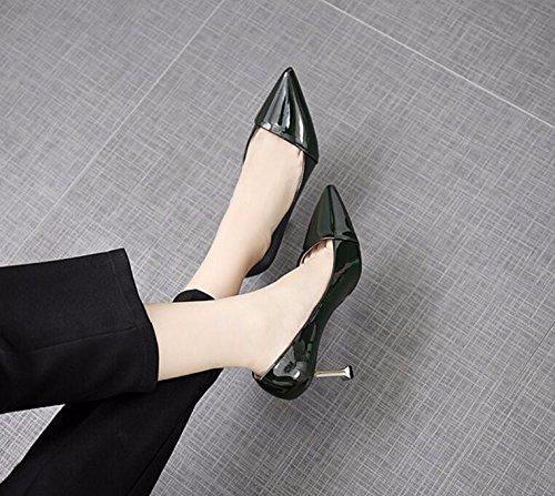 Los Piel Nueva Solo Alto Mujeres Coreana Otoño Versión Punta Zapatos Tacón 5cm el Verde Khskx Sobre 8 Del Delgada Gatos Puro Color La De 37 Luz El Con vSnqUBAEwx