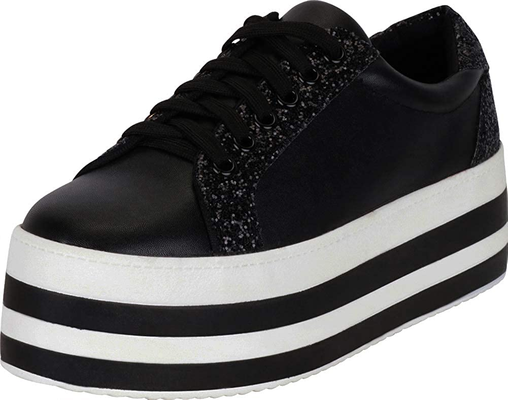 Black Pu Cambridge Select Women's 90s Low Top Lace-Up Glitter Striped Platform Flatform Fashion Sneaker