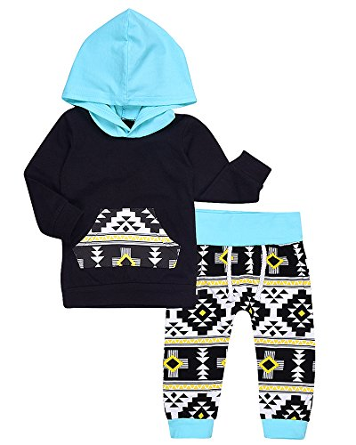 2Pcs Baby Boys Girls Fall Winter Long Sleeve Geometric Print Hoodie and Pants Outfit Set (12-18M, Black&Blue)