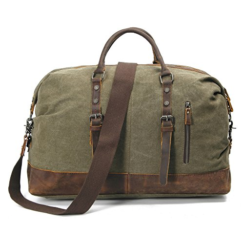 InFurniture B12031-1-Olive Olive, Washed Canvas 16 Oz. with Leather Traveling Bag by InFurniture