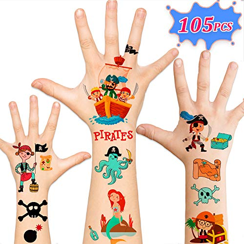 Kids Pirates - 105pcs Temporary Pirate Tattoos for Kids,