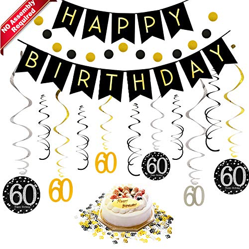 60th Birthday Decorations Kit for Men & Women 60 Years Old Party, NO Assembly Required - Black Gold Happy Birthday Banner, Hanging Swirls, Circle Dots Hanging Decoration, Number 60 Table Confetti]()