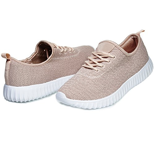 Chatties By Sara Z Womens Low Top Fashion Athletic Sneaker Shoes for Ladies Light Weight Running Walking Casual Shoes Size 11 Blush
