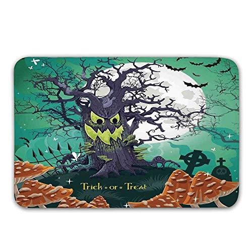 Halloween Decorations Non Slip Rubber Entrance Rug,Trick or Treat Dead Forest with Spooky Tree Graves Big Kids Cartoon Art Doormat for Front Door,31.5
