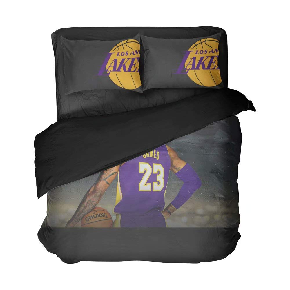 Los Angeles Basketball Player Duvet Cover Sets Number 23 Bedding Men's Sports Bed Twin Sets Cotton Flat Sheet for Boys